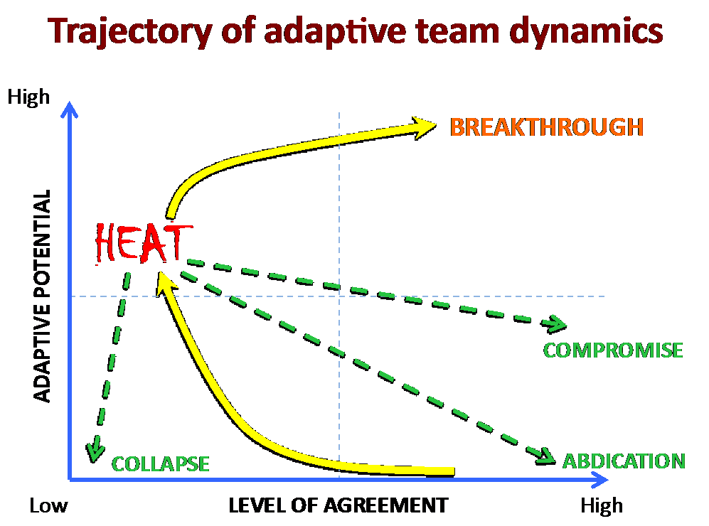 Trajectory of adaptive team dynamics