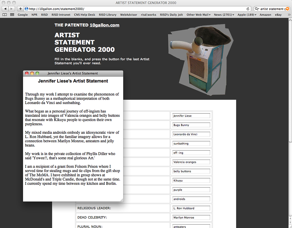 "Screen grab from the author's iteration of Nick Fortunato's ""Artist Statement Generator 2000."""