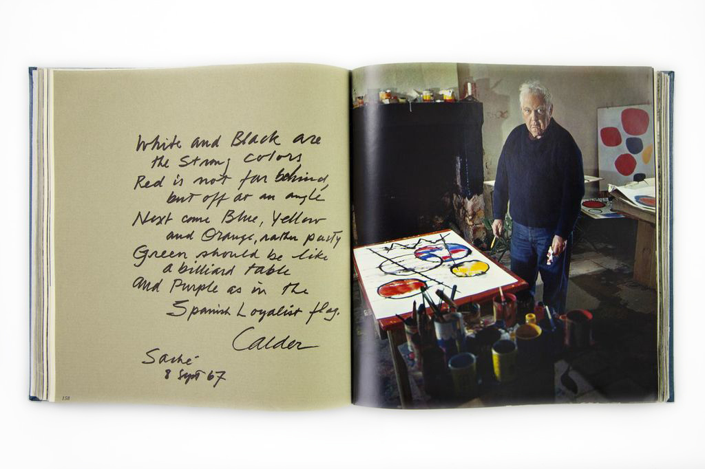 Spread from Daniel Frasnay, <em />The Artist's World (1969); Alexander Calder statement and portrait.