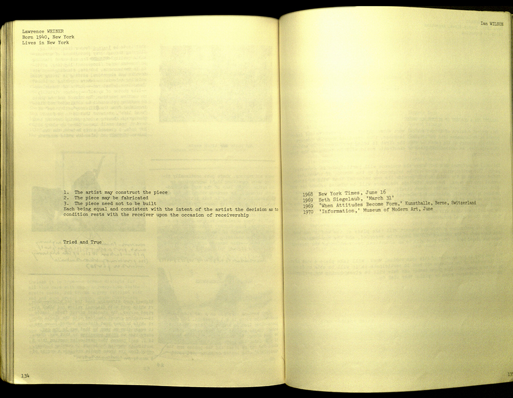 Spread from <em />Information (1970); Lawrence Weiner statement.