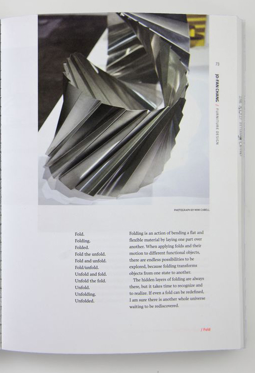 Page from <em>RISD Grad Book 2011</em>; Jo-Fan Chang statement.