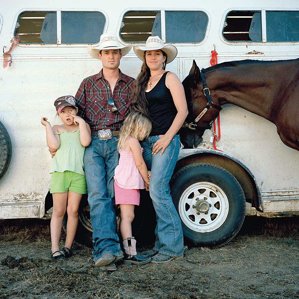 Keith and Ileah Roquemore, with daughters Raci and Riata and horse D.H., Mendocino County Fair Rodeo. Boonville, Mendocino County.